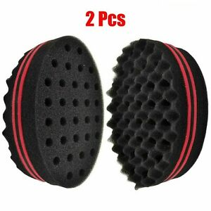 2x Wave Barber Hair Brush Sponge Double Sided Locking Twist Coil Afro Curl Wave
