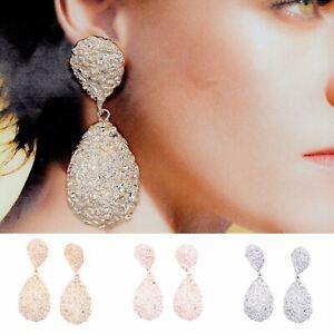 Silver Rose Gold Tear Drop Metal Raised Style Dangle Earrings Ear Drop Fashion