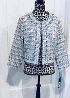 Karl Lagerfeld Paris Tweed Blue White Jacket Boucle Fringe Womens Large Cropped