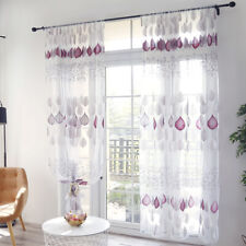 Leaf Print Perforated Sliding Door Tulle Sheer Curtain Balcony Window Screen