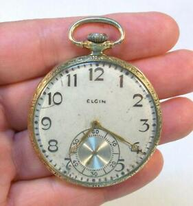 Old 1922 Vintage Signed ELGIN Ornate Gold Flled Pocket Watch - Runs AS FOUND