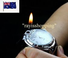 Flame Lighter Watch, Black or White Butane Cigarette Cigar Lighter Cool Fun