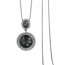 High Quality 18K Black GP Grey Sapphire Circle Crystal Pendant Long Necklace