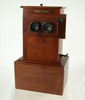 EDUCA II Stereoskop stereoscope polished wood Glasplatten glass plates top