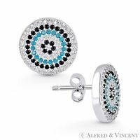 Evil Eye Turkish Nazar Greek Mati Hamsa Charm .925 Sterling Silver Stud Earrings