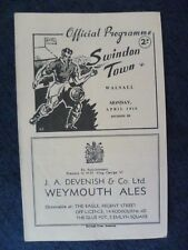 1949/50 Official Programme- SWINDON TOWN v WALSALL, 10th April  (RARE)