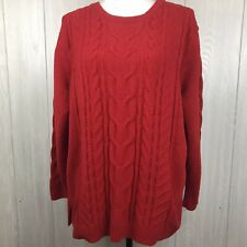 J Jill Chenille Sweater Soft Pullover Cable Knit Red Size XL Petite