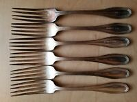 "6 VINTAGE COLLECTIBLE FORKS 7"",WM ROGERS & SON AA ,SILVER PLATED"