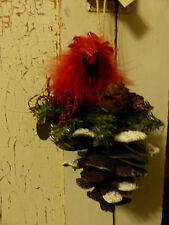 Katherine's Collection Red Cardinal Ornament Pinecone Feathers Metal Nest Xmas
