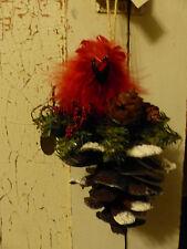 Katherine's Collection Red Cardinal Ornament Pinecone Joy Luck  Metal Nest Bird