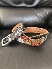 "Vintage ED HARTY Distressed LEATHER BELT/""KISSING KOI""/Rhinestones Size S"