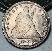 1871 Seated Liberty Quarter 25C KEY DATE High Grade Detail US Silver Coin CC5786