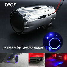 Stainless Steel Car SUV Exhaust Tip 35MM Inlet Muffler w/ Blue LED Straight Pipe