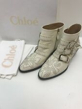 New. Chloe Susanna Studded Boots.white/silver Leather.uk 2.5(fits Uk 3.5)