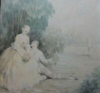 Original Antique Watercolour Painting Courting Couple