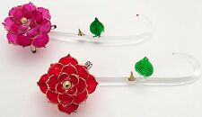 One Red Rose stem One pink Rose Stem Glass Crystal Collectable #C57