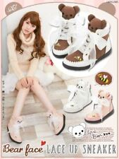 Harajuku Womens Bear Shoes Brown Kawaii Sweet Lolita High Top Sneakers Japan