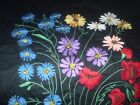 Vintage beautiful hand-embroidered tapestries on flowers