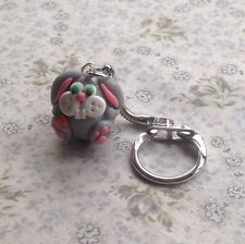 keyring Handmade Easter Bunny Silver Fimo Cut Gift Easter gift ideas rabbit