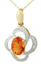 1.10ctw Diamond & Citrine Solid 2-Tone Gold Necklace