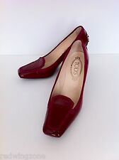 Tod's Swing Bicolor Moc Patent Suede Pump/ Shoes, Dark Red/ Fuchsia, Size 7,5 M
