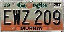 FREE UK POSTAGE 1993 Georgia Murray  County USA License Number Plate EWZ 209