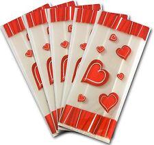 50 x amour cœur rouge clair cellophane sacs candy traiter fête cadeau sucré cello sac