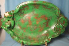 Antique Weller Art Pottery COPPERTONE Frog & Water Lily Shallow Console Bowl