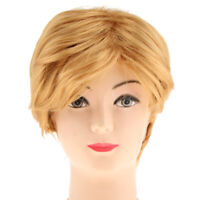 Man's Heat Resistant Short Side Part Blonde Wig Cosplay Costume Straight Wig