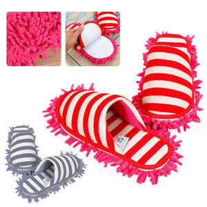 Winter Floor Cleaning Slippers Stripe Scuffs Mules Microfiber Mop Dusting Shoes