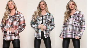 Ladies Fleece Oversize Baggy Check Print Jacket Utility Shaket Top Shirt Coat
