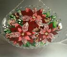 Joan baker stained glass sun catcher  9x7 with holes for logo Poinsettias NIB