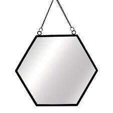 Sass & Belle Monochrome Black Metal Hexagon Frame Mirror Chain Link  Hanging