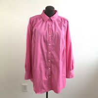 Avenue Womens Top Cotton Bedford Button Front Long Sleeve Tunic Plus Size 22