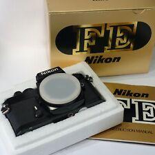 Nikon FE 35mm SLR camera body, Black *BOXED* Mint- fully working shutter & meter