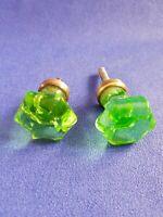 Paire de poignées porte en cristal vert et  laiton  ( Ref ZB728 )