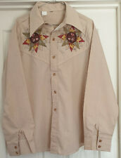 Genuine Mexican Shirt From Tijuana Mexico Beige With Quilted Pattern Size Large