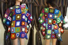 Vtg 60s 70s Granny Square Caftan Sweater Crochet Hippie Festival S M L XL