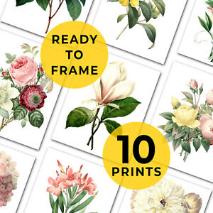 """Set Of Botanical Flower Prints, 10 Prints,Gallery Wall, Fits A4 and 8x10"""" Frames"""