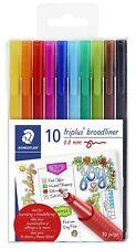 10 Piece Staedtler Triplus Broadliner Art Marker Pen Set, Assorted Colors, New