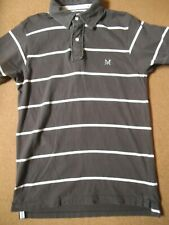 Crew Clothing mens polo shirt short sleeve with logo brown grey white striped S
