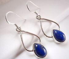 Lapis Dewdrop Earrings 925 Sterling Silver Dangle Drop Hoop New