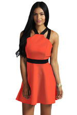 Fashion Girl Contrast Strap Short Red Skater Dress Club Summer Party One size