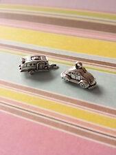 Auto + Wohnwagen Anhänger ♥ VW Käfer Urlaub Camping * Schmuck Charms Silber