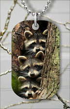 RACOONS BROTHERS DOG TAG PENDANT NECKLACE FREE CHAIN -sht5Z