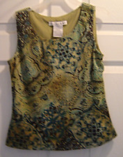 Madison liegh Size 4P Sleeveless Olive Green Abstract Design Blouse