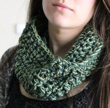 Chunky Green Cowl Crochet Knit Infinity Scarf Neck Warmer Handmade