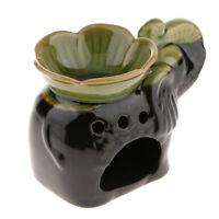 Ceramic Elephant Fragrance Oil Burner Tealight Holder Candle Pillar Green