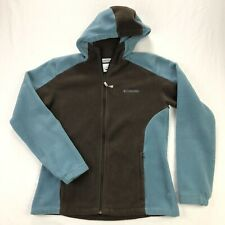 Columbia Womens Large Brown Blue Full Zip Hooded Fleece Jacket Hoodie