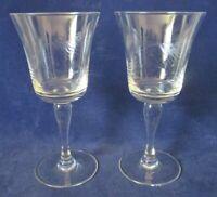 Vintage Sasaki Noritake Wheat Pattern Water Goblet Smooth Bulbous Stem Two EUC